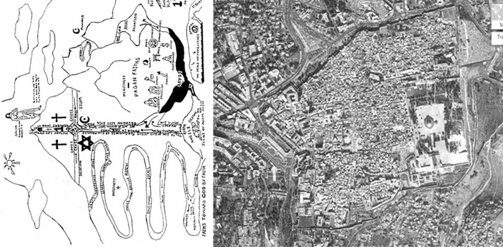 Satellite View of the old city of Jerusalem